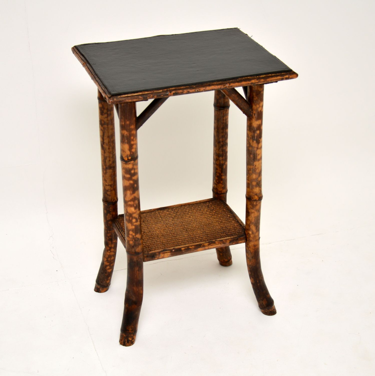 antique victorian bamboo leather top side table