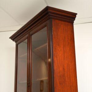 antique victorian inlaid mahogany bookcase