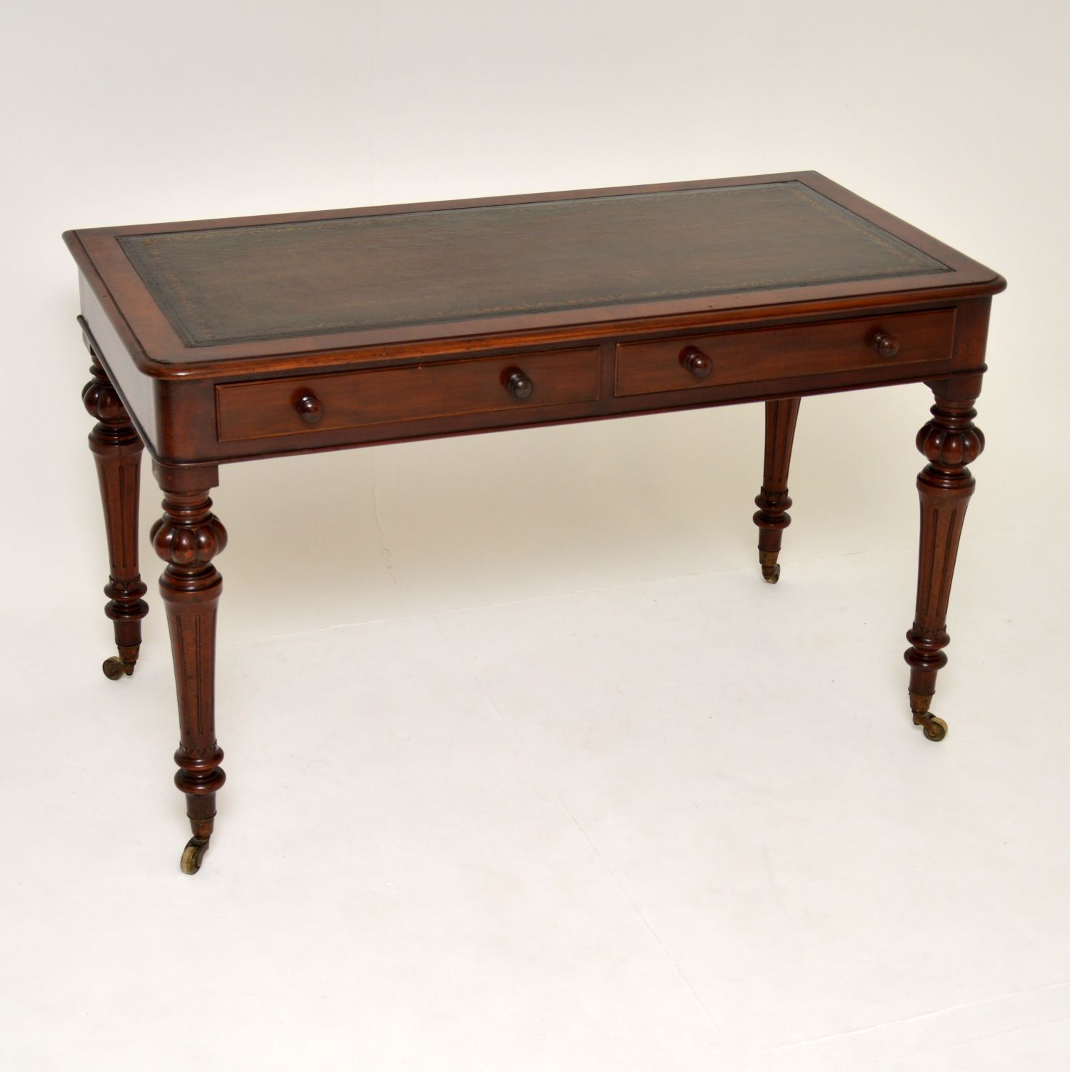 antique victorian william IV mahogany leather writing table desk
