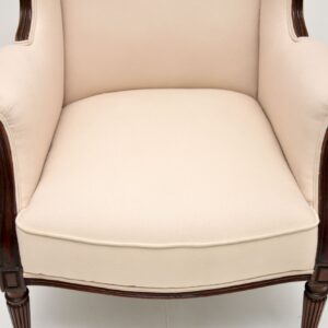 antique victorian mahogany wing back armchair