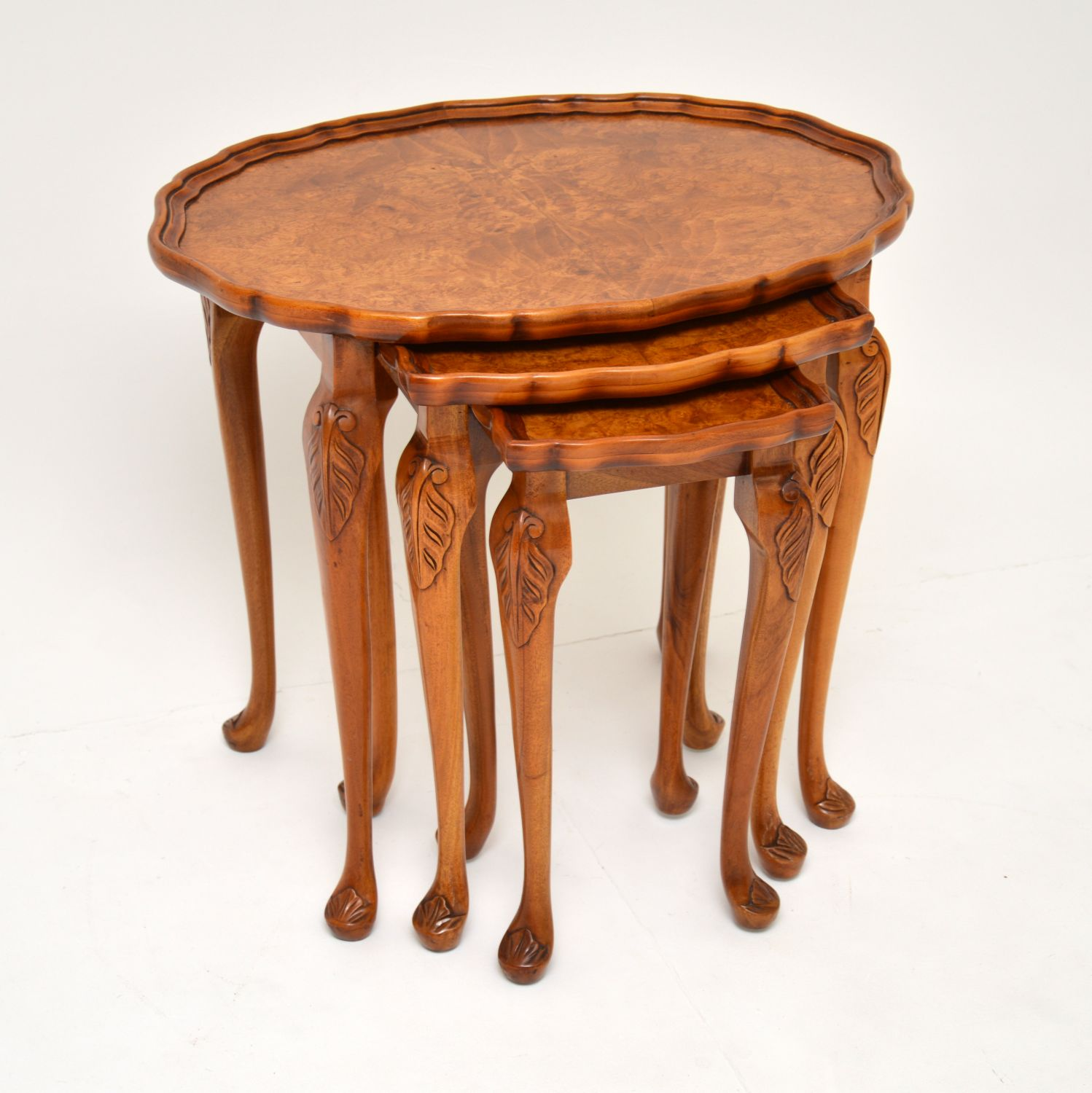 antique burr walnut pie crust nest of tables