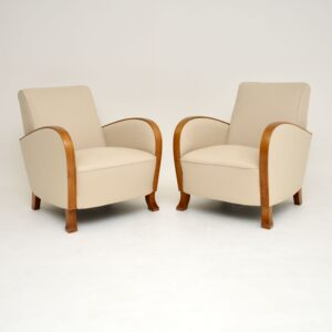 pair of art deco swedish antique satin birch armchairs
