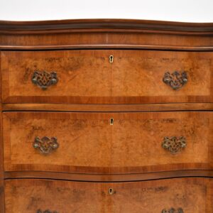 antique burr walnut chest on chest of drawers