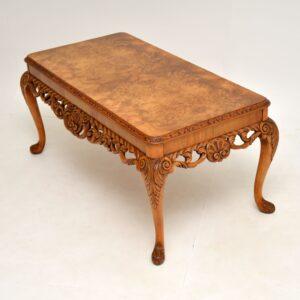 antique queen anne burr walnut coffee table