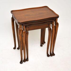 Antique Figured Walnut Pie Crust Nest of Tables