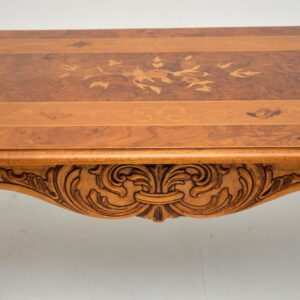 Antique French Style Burr Walnut Inlaid Marquetry Coffee Table