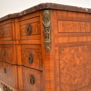 Antique French Inlaid Marquetry Marble Top Commode