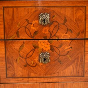 antique swedish french inlaid marquetry marble top commode