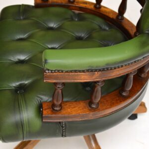 antique victorian leather swivel captains desk chair armchair