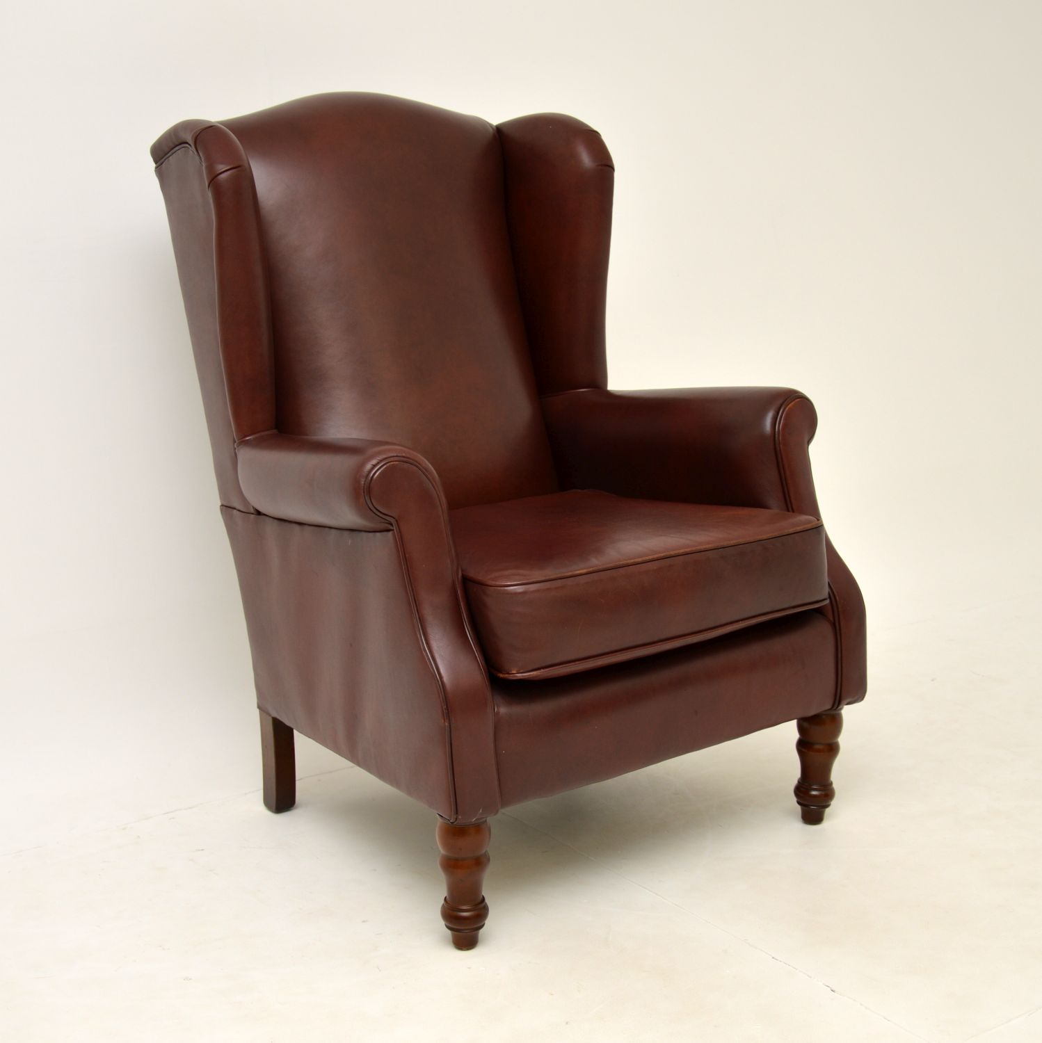 antique georgian style leather wing back armchair