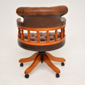 Antique Victorian Style Leather Captains Swivel Desk Chair