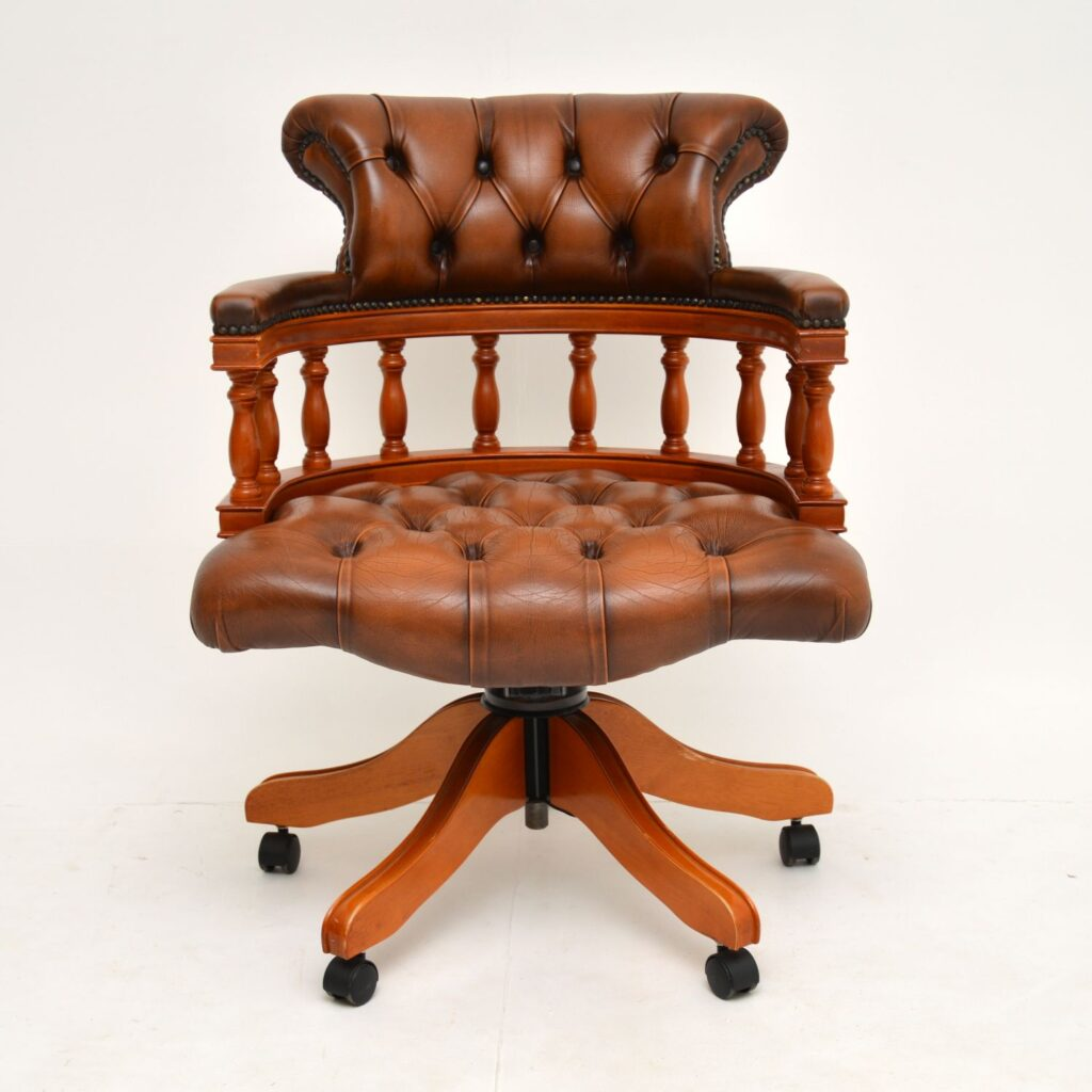 antique leather swivel captains desk chair