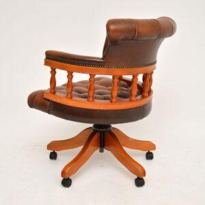 antique leather swivel captains desk chair
