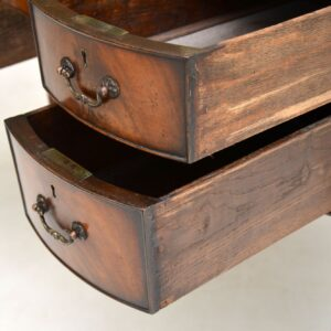 antique flame mahogany leather top kidney desk