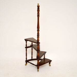 antique victorian mahogany leather library steps