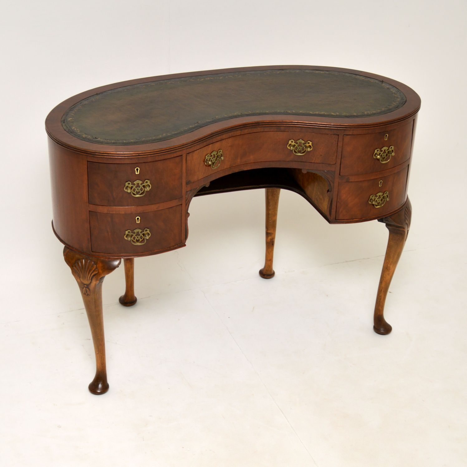 antique mahogany leather kidney desk