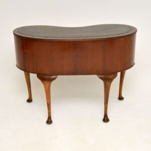 Antique Mahogany Leather Top Kidney Shaped Desk