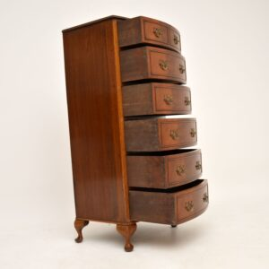 Slim Antique Mahogany Bow Front Chest of Drawers