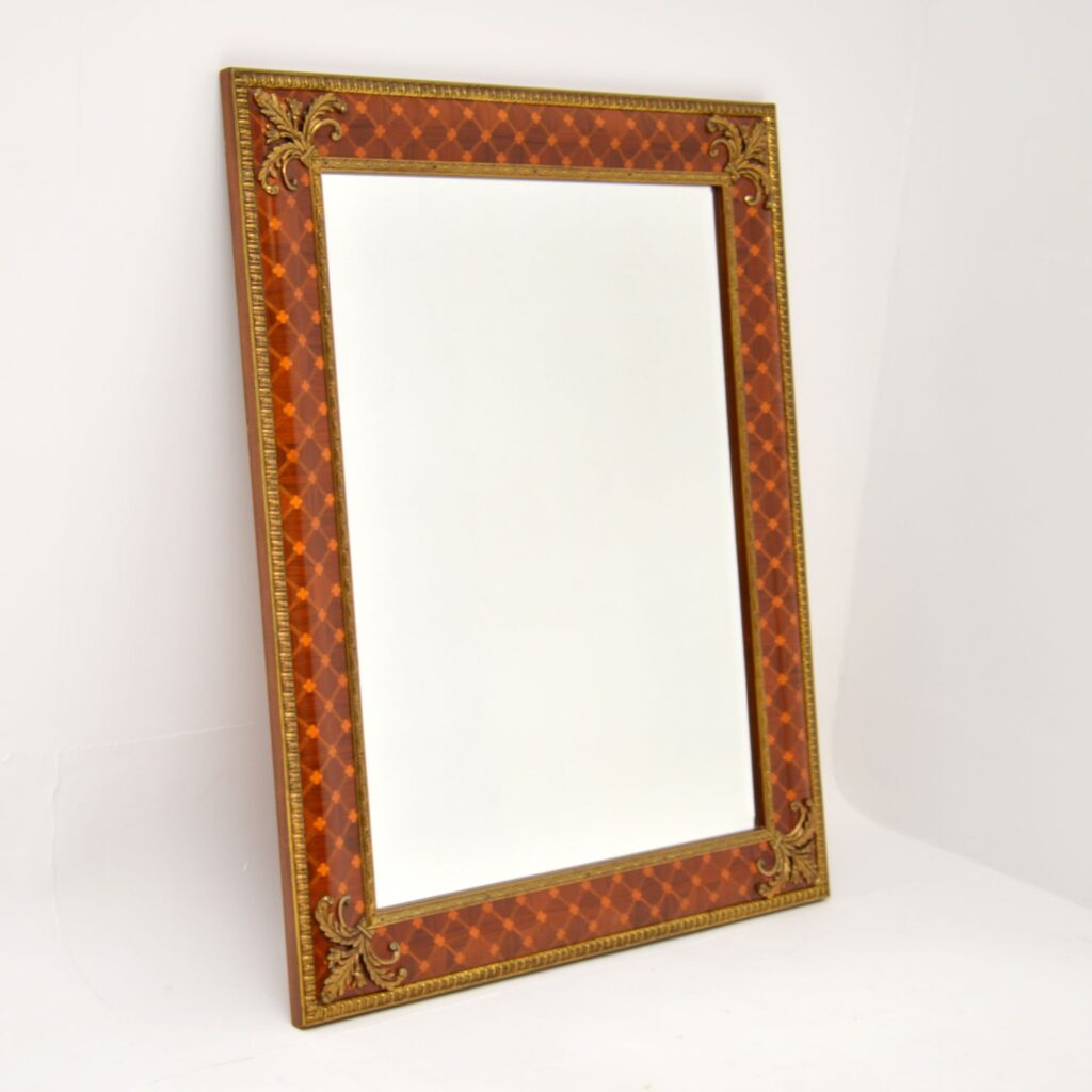 antique french inlaid ormolu mirror