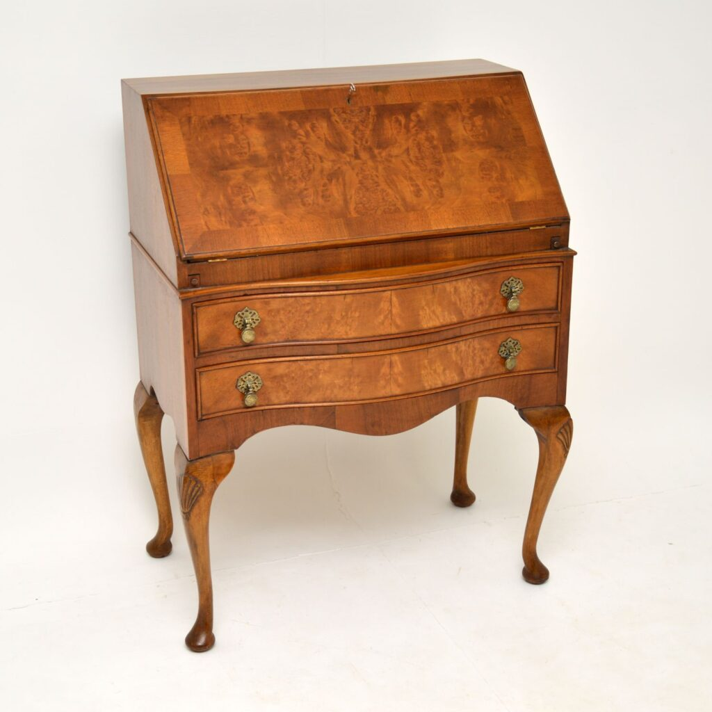 antique burr walnut queen anne writing bureau