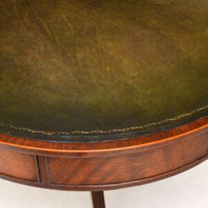 antique regency mahogany leather drum table