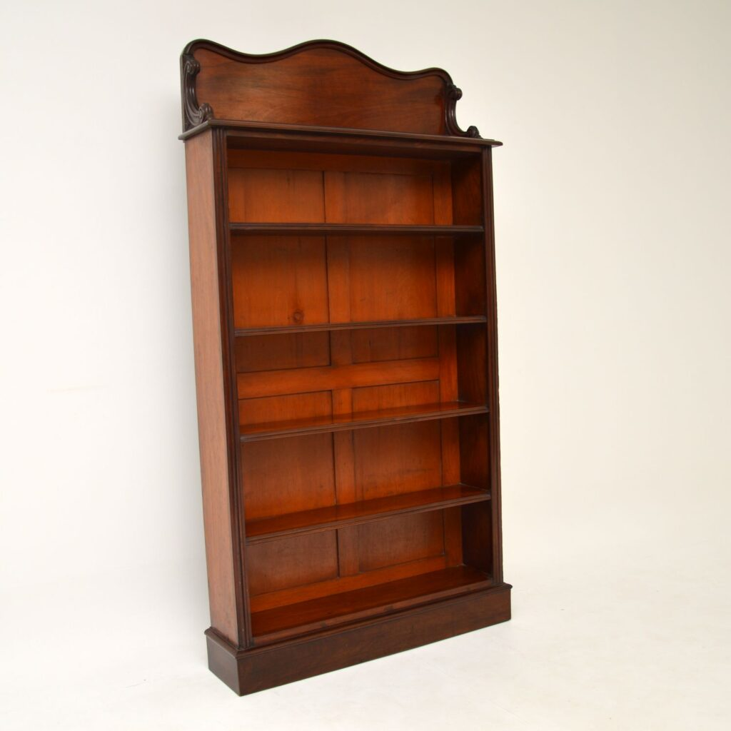 antique victorian william IV mahogany open bookcase