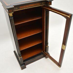 antique victorian inlaid burr walnut ebonised cabinet