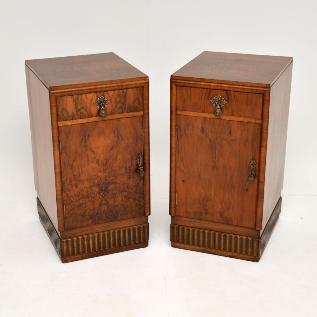 pair of art deco antique burr walnut bedside cabinets