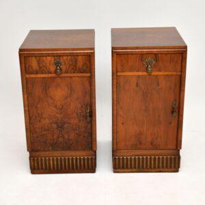 pair of art deco antique burr walnut bedside cabinets