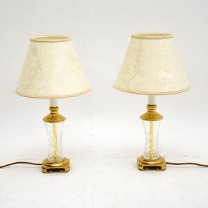 Pair of Antique Neoclassical Style Glass & Brass Table Lamps