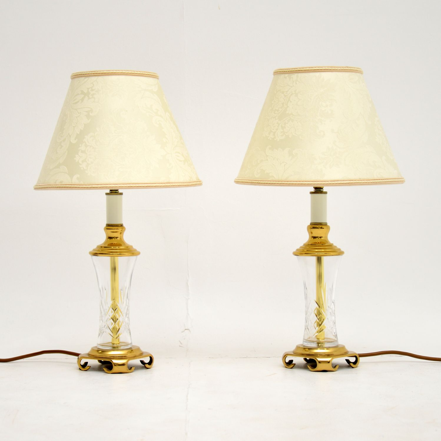 pair antique crystal glass brass table lamps