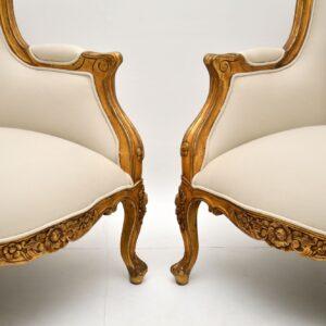 pair of antique french gilt wood sofa sofas