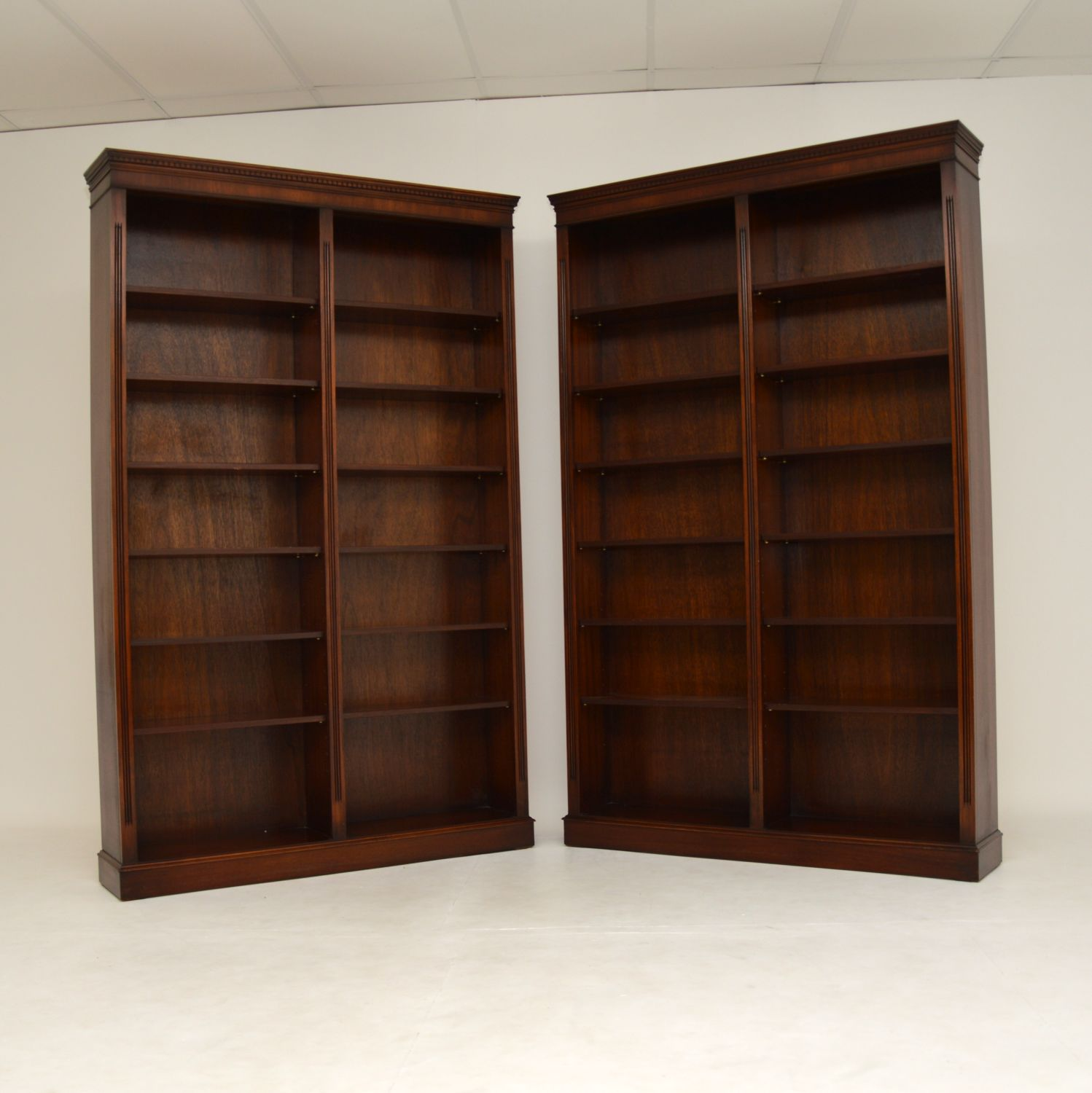 pair of antique mahogany open bookcases bookcase