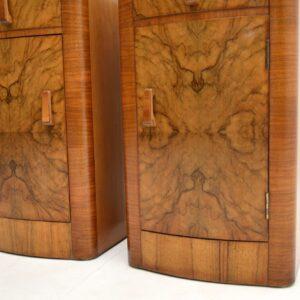pair art deco walnut bedside cabinets