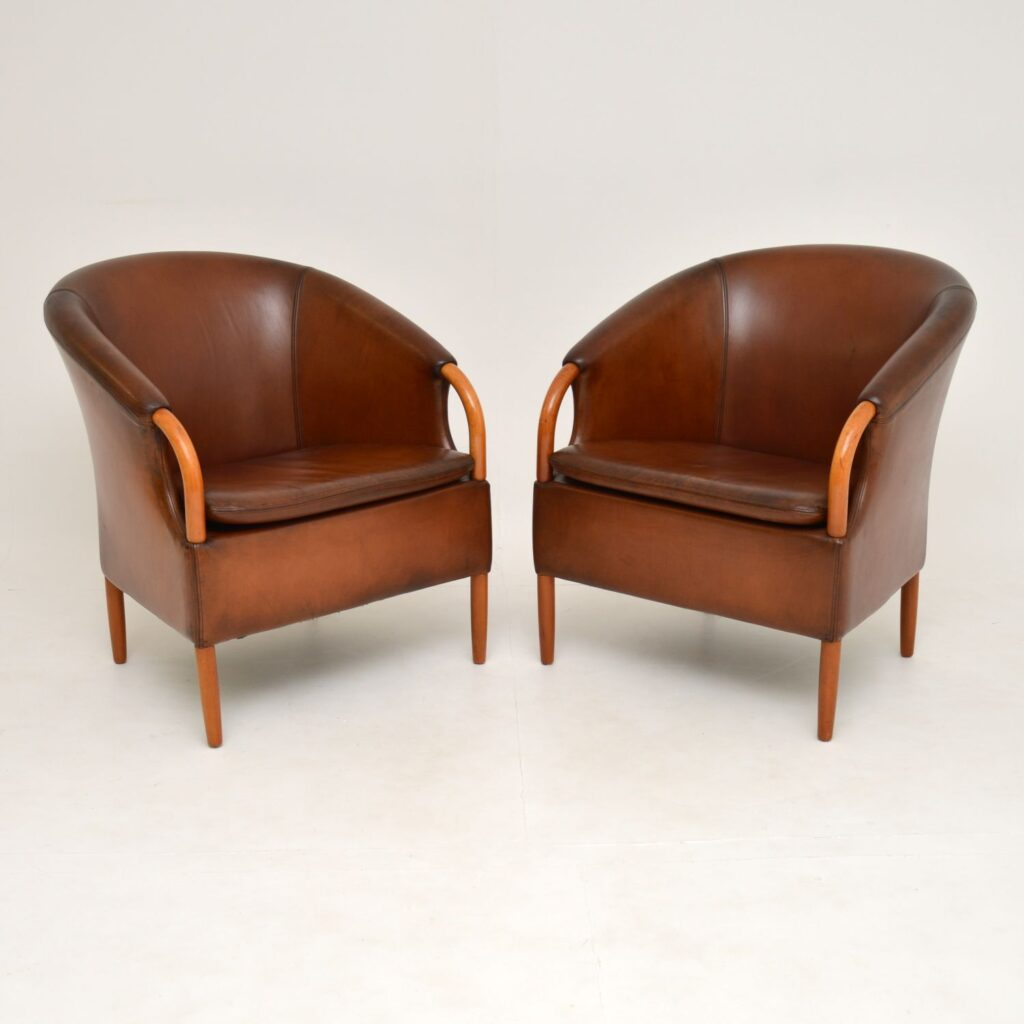 pair of danish retro vintage leather armchairs mogens hansen