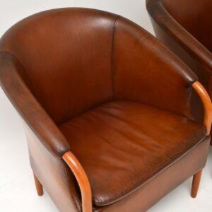 pair of danish retro vintage leather armchairs mogens hansen