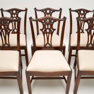 Set of 6 Antique Chippendale Style Mahogany Dining Chairs