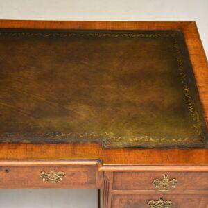 antique burr walnut pedestal desk