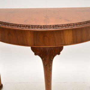 antique queen anne burr walnut console table