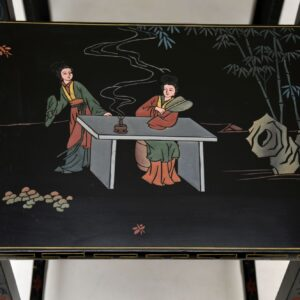 antique chinese chinoiserie lacquered nest of tables