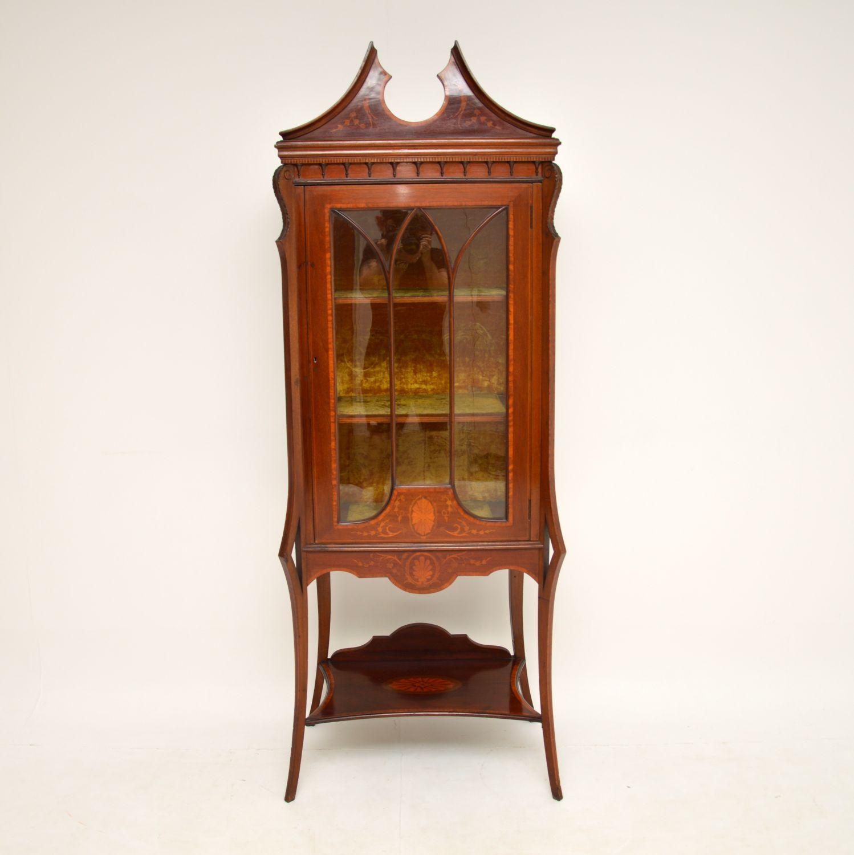 antique edwardian inlaid mahogany display cabinet