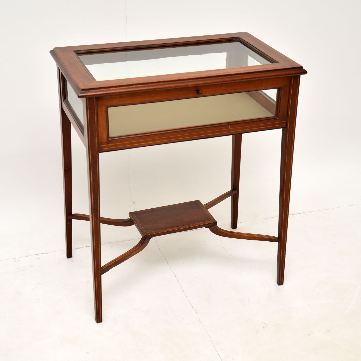 antique edwardian inlaid mahogany bijouterie display case table