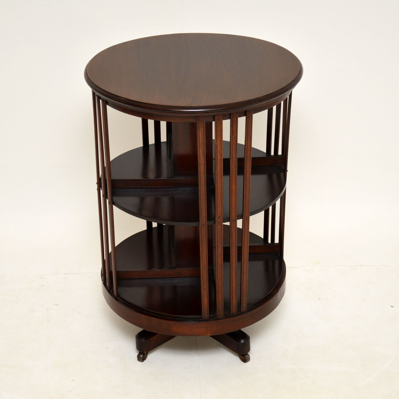 antique edwardian cylindrical revolving bookcase