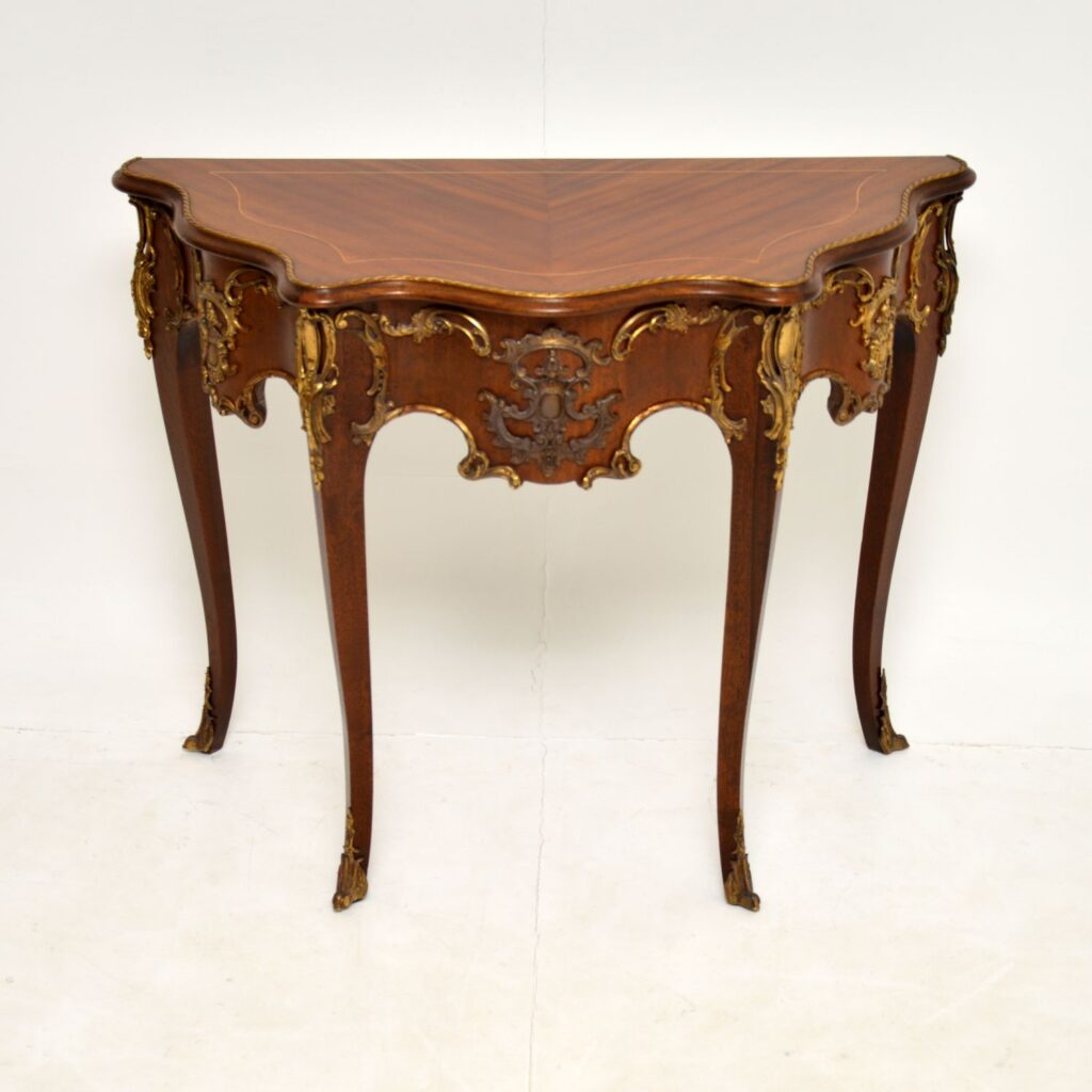 antique french inlaid ormolu mounted console table