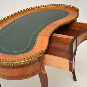 antique french inlaid ormolu leather top kidney desk