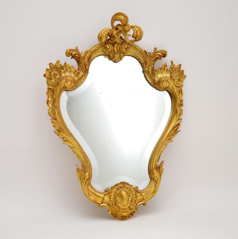 antique french gilt brass mirror