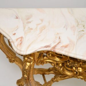 antique french gilt wood marble top rococo console side hall table