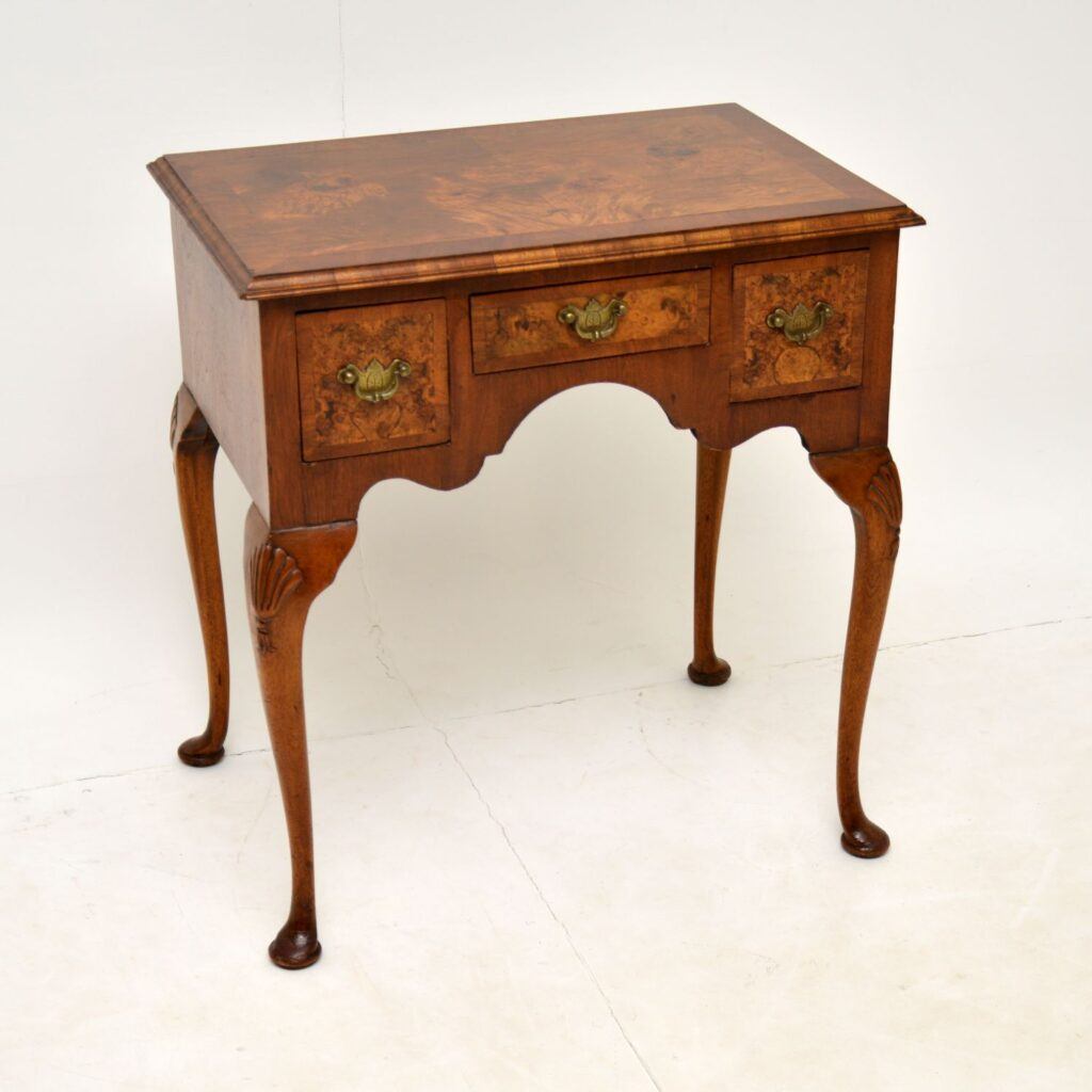 antique burr walnut lowboy side table
