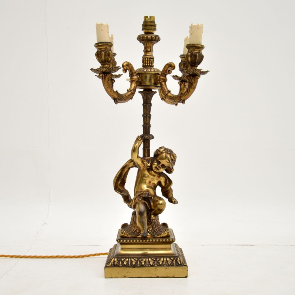 antique gilt metal bronze cherub french table lamp