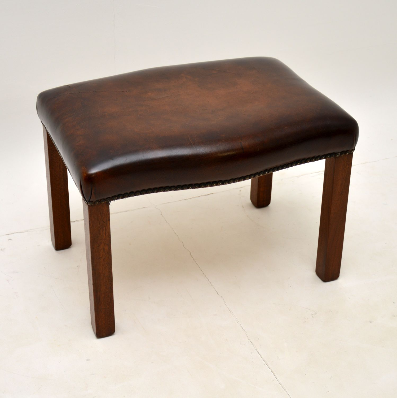 antique mahogany leather vintage foot stool